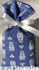 Petit sachet de fleurs de Lavande motif cigale fond bleu